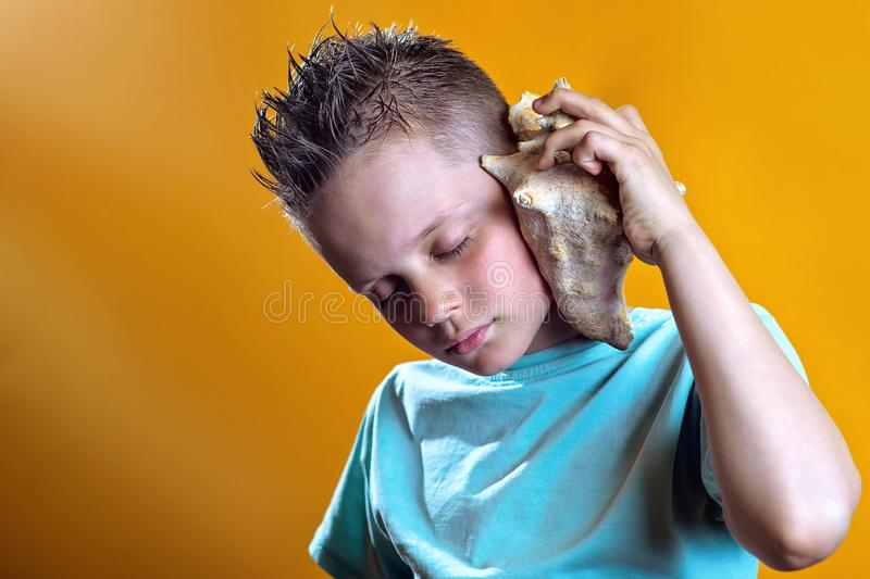 A boy in a light t-shirt listens to the sea in a sea shell on a colored background. A boy in a light t-shirt listens to the sea in a sea shell on a bright stock image