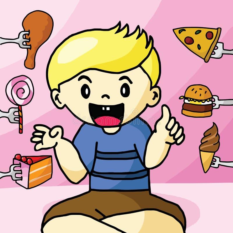 The boy like fast food royalty free illustration