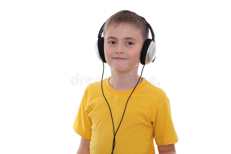 A Boy Listening To The Music Stock Images