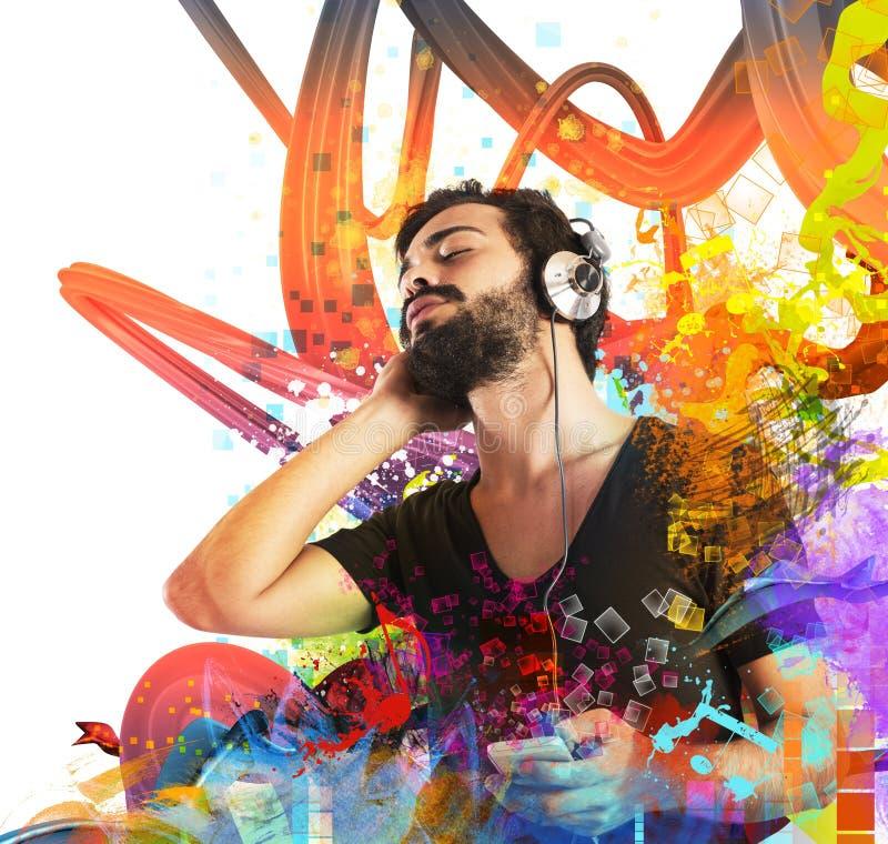 Free Boy Listening To Music Stock Photos - 54571393