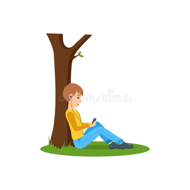 Boy listening to music, near tree in the park. royalty free illustration
