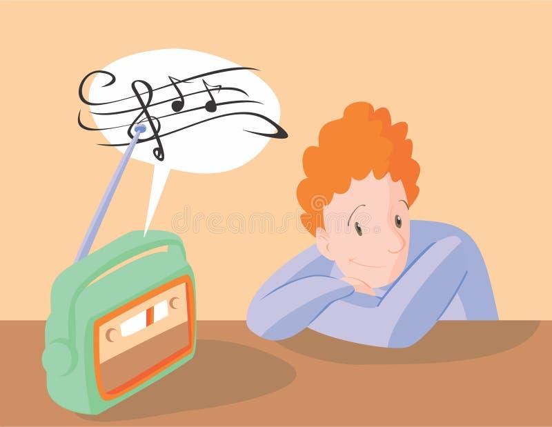 Boy listening to music on radio stock illustration
