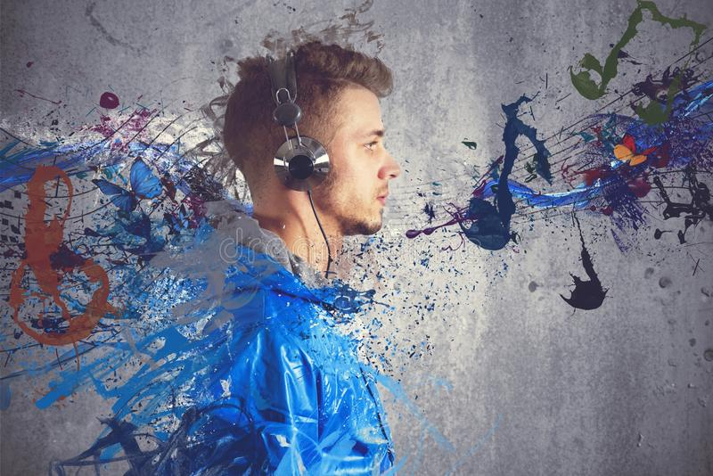 Boy listening to music. With sketch effect stock photo