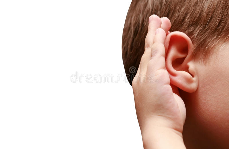 Boy listens attentively. On a white background stock image