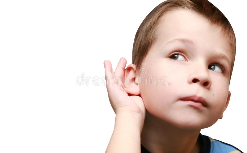 Boy listens to gossip. On a white background stock photo
