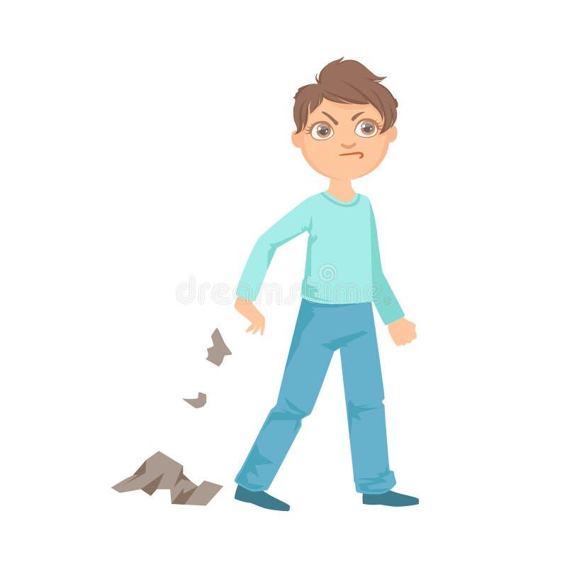 Boy Littering Teenage Bully Demonstrating Mischievous Uncontrollable Delinquent Behavior Cartoon Illustration vector illustration