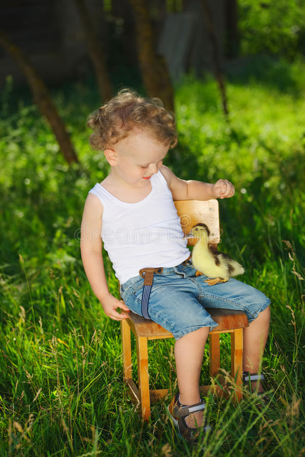 Boy with little yellow duckling in summer village royalty free stock photography