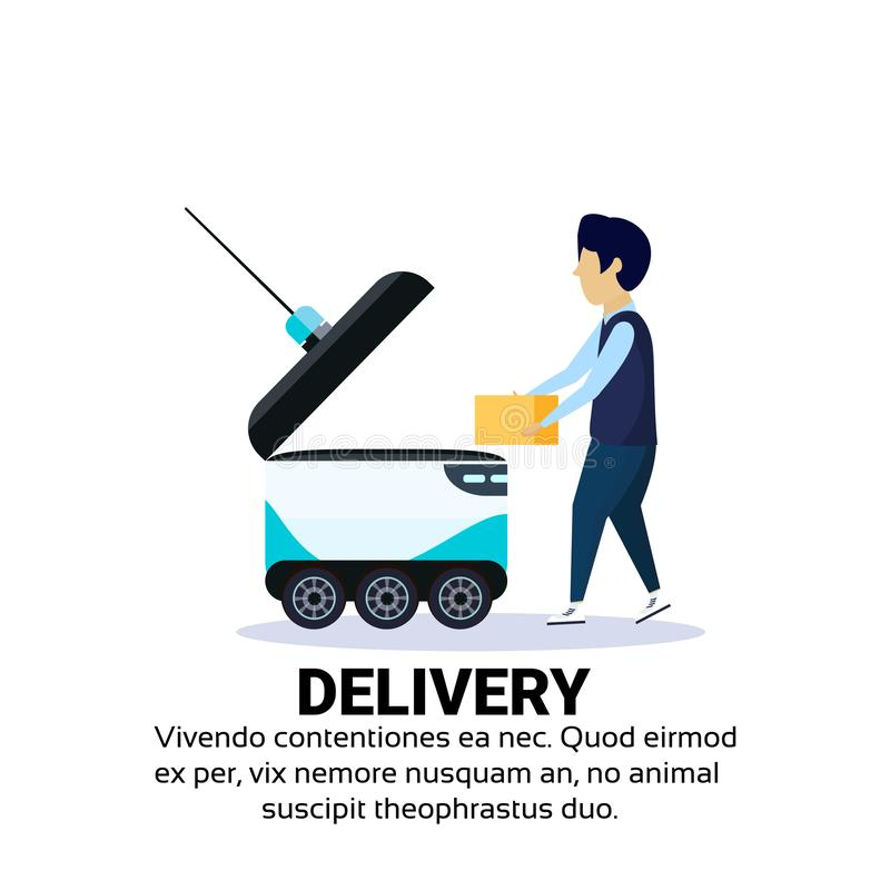 Boy loading box robot self drive fast delivery goods in city car robotic carry concept isolated copy space flat. Vector illustration royalty free illustration