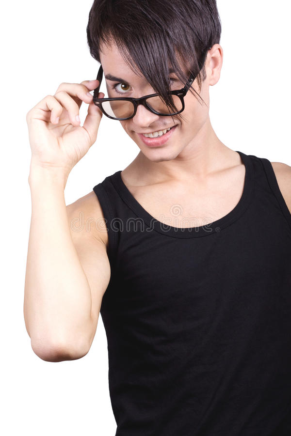 Boy look through glasses. stock images
