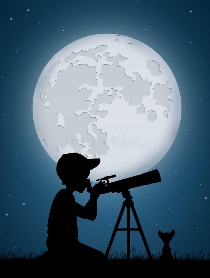 Boy look in the telescope. Illustration of boy look in the telescope royalty free illustration