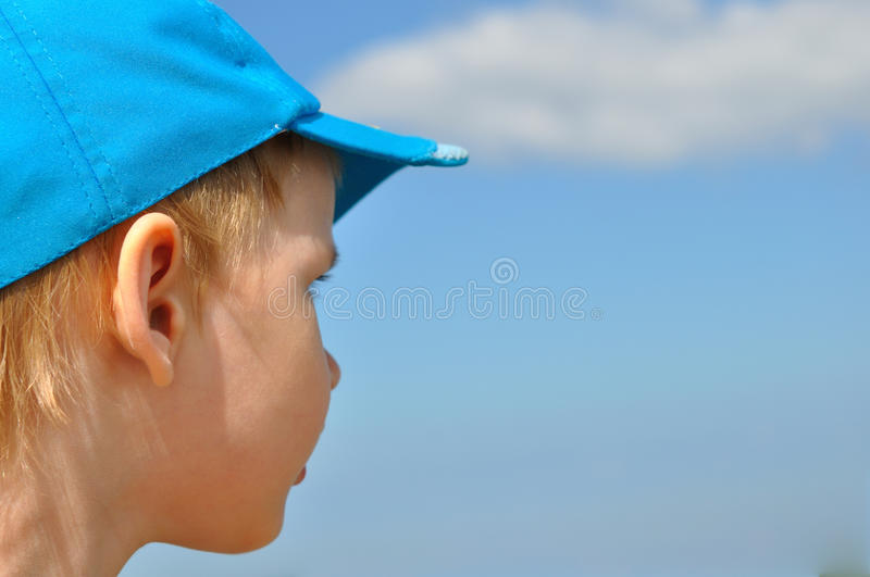 The boy looking in a distance stock images