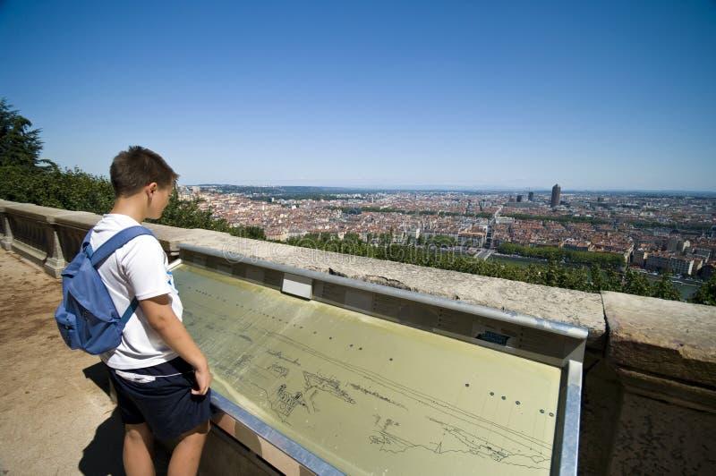 Download Boy looking at Lyon city stock image. Image of europe - 11092719
