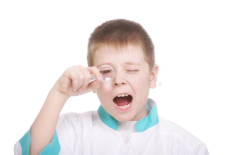 Download Boy Looking Through Magnifying Glass Stock Image - Image: 13478557
