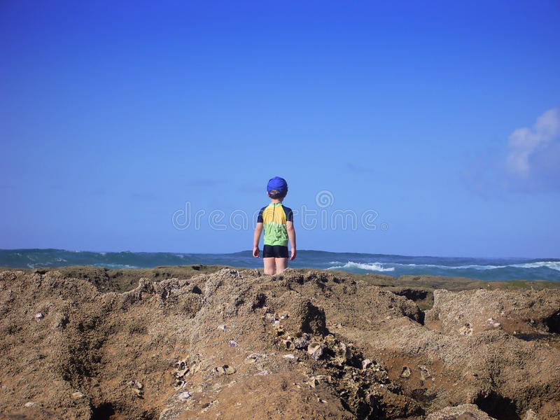 Download Boy looking out to sea stock image. Image of happy, beach - 11148611