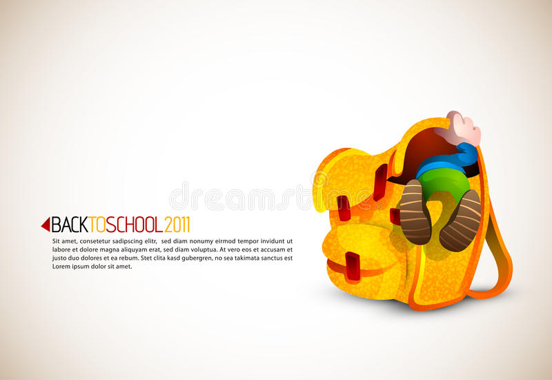 Download Boy Looking For Something In His Huge Backpack Stock Vector - Image: 20815762
