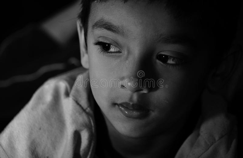 Boy looking to right side royalty free stock photography