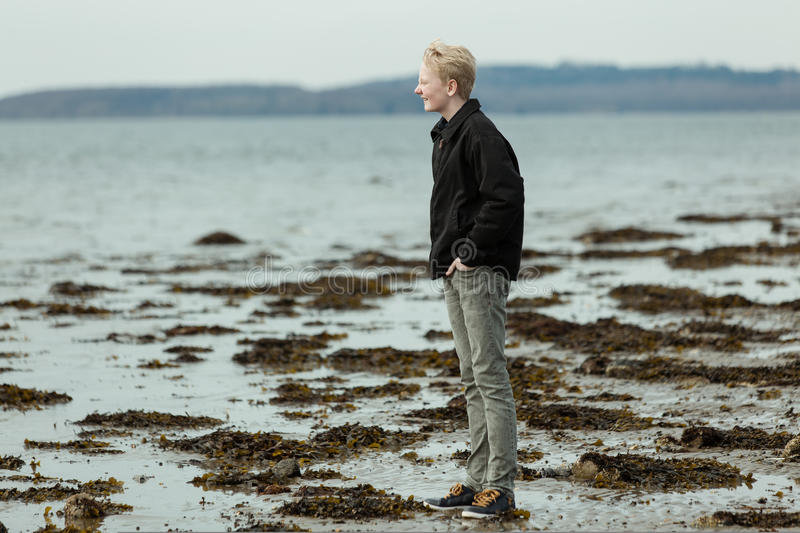 Boy looking toward sea during low tide royalty free stock images