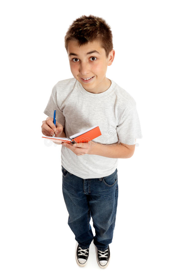 Download Boy Looking Up From A Book And Smiling Stock Photo - Image of body, person: 13082020