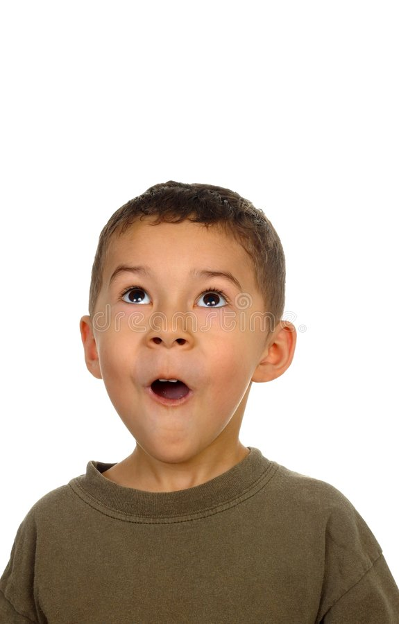 Download Boy looking up in surprise stock image. Image of open - 3621433