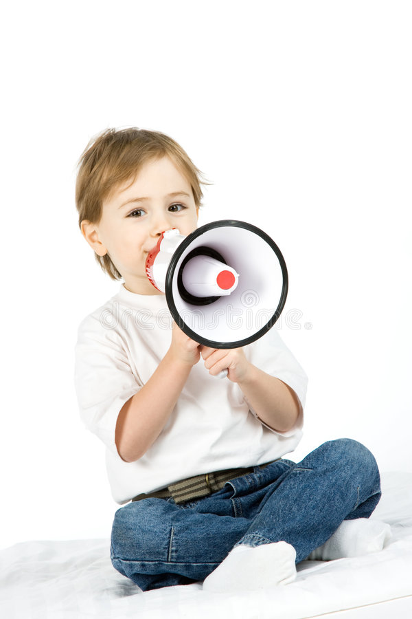 Boy With Loud Speaker Stock Photos
