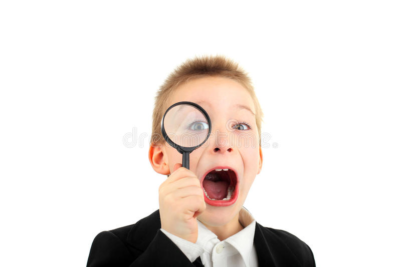 Download Boy with loupe stock photo. Image of researcher, person - 19221330