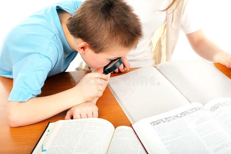 Download Boy with loupe stock image. Image of book, education - 19324007