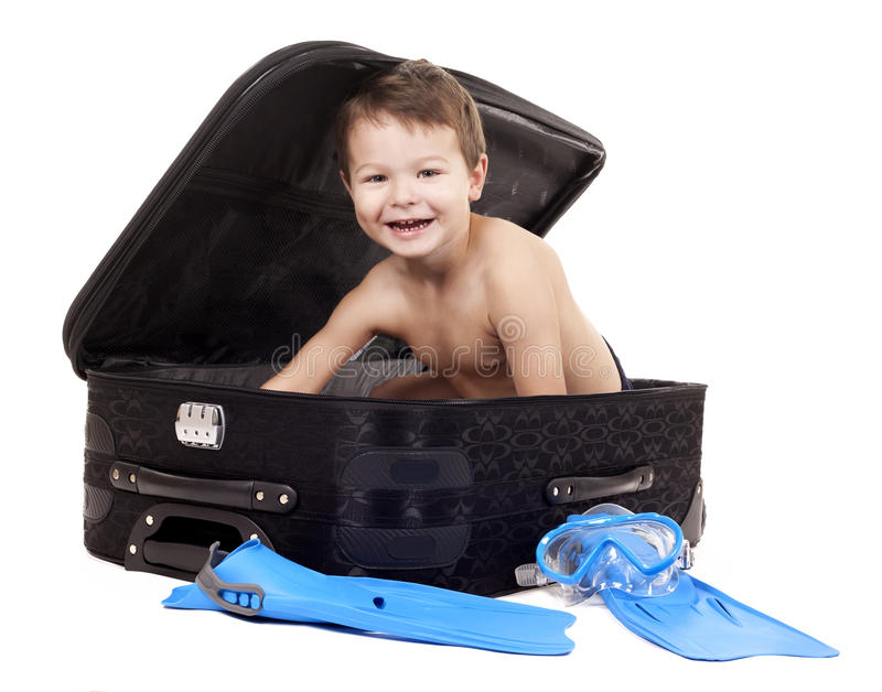 Download Boy in the luggage stock image. Image of smile, baggage - 28167873