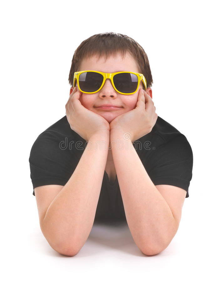 Download Boy lying on the floor stock photo. Image of sunglasses - 23046288
