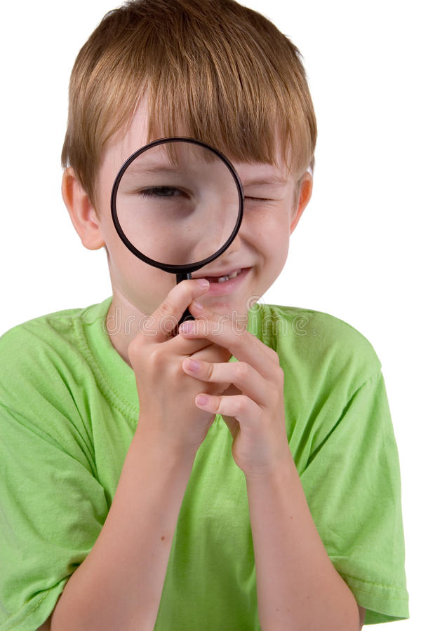 Download Boy with magnifying glass stock image. Image of seven - 23875083