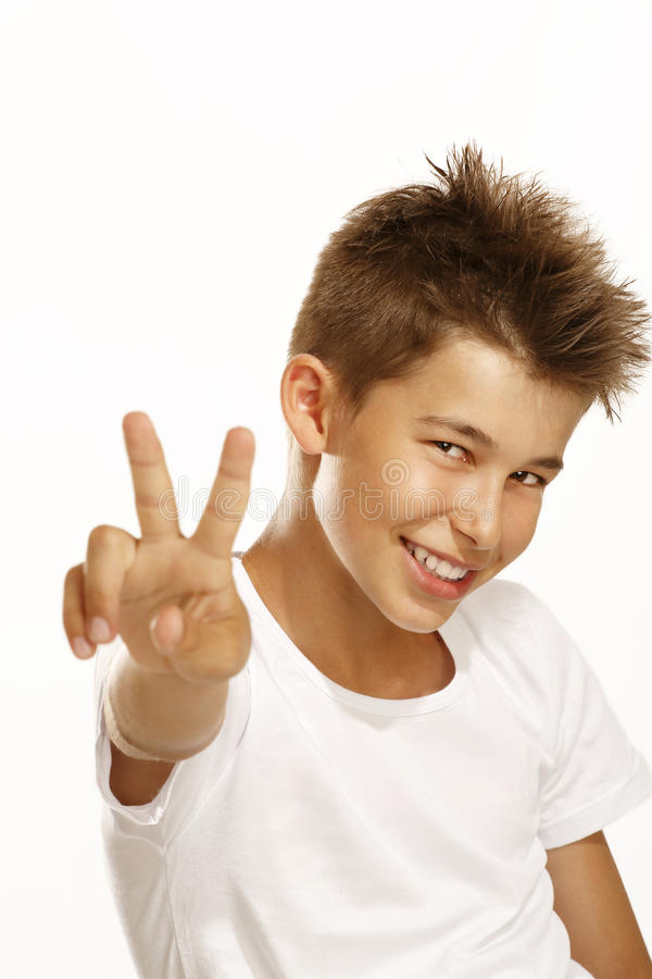 Download Boy make victory sign stock photo. Image of cool, closeup - 25876212