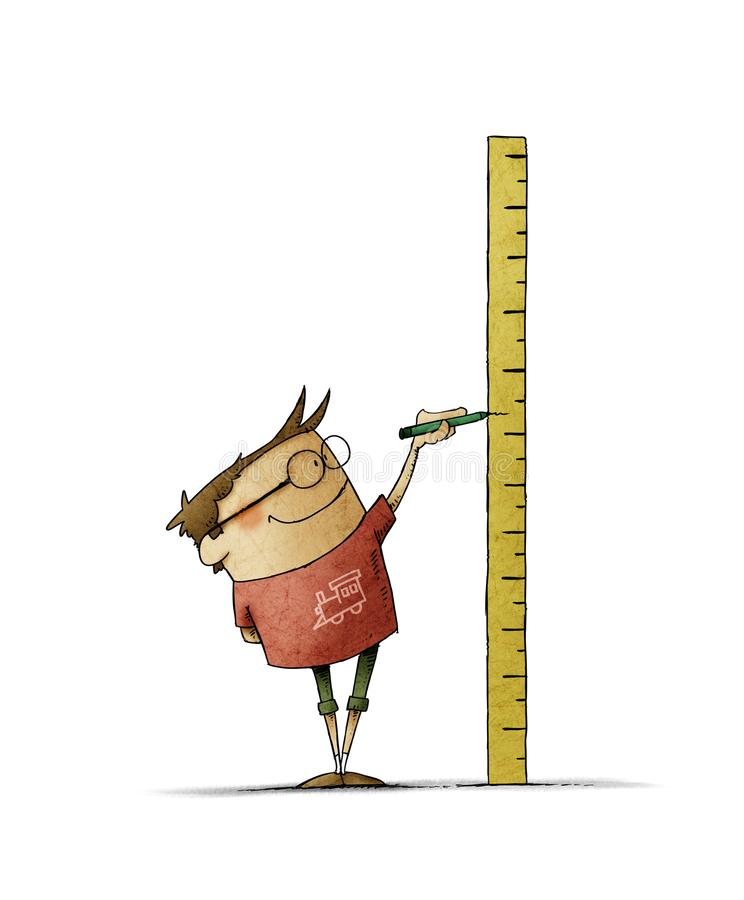 Free Boy  Makes A Mark On A Ruler In Which He Has Measured His Height. Isolated Stock Photography - 165069162