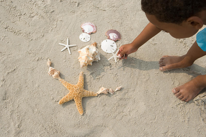 Boy making pattern with shells royalty free stock photography