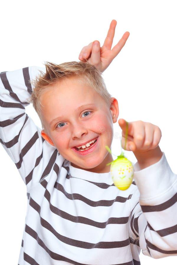 Boy Making Rabbit Ears Royalty Free Stock Photos