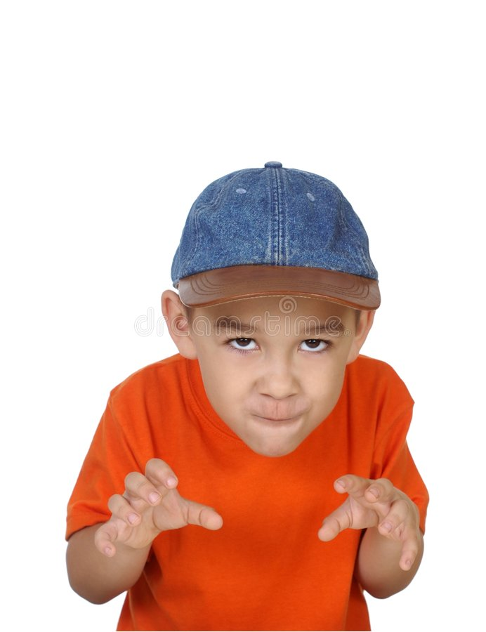 Boy making scary face royalty free stock image