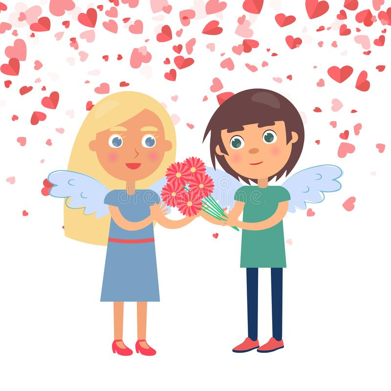 Boy Giving Bouquet to Girlfriend, Valentine Vector. Boy making surprise for girlfriend giving bouquet. Couple with wings Valentine day, boyfriend giving flowers vector illustration