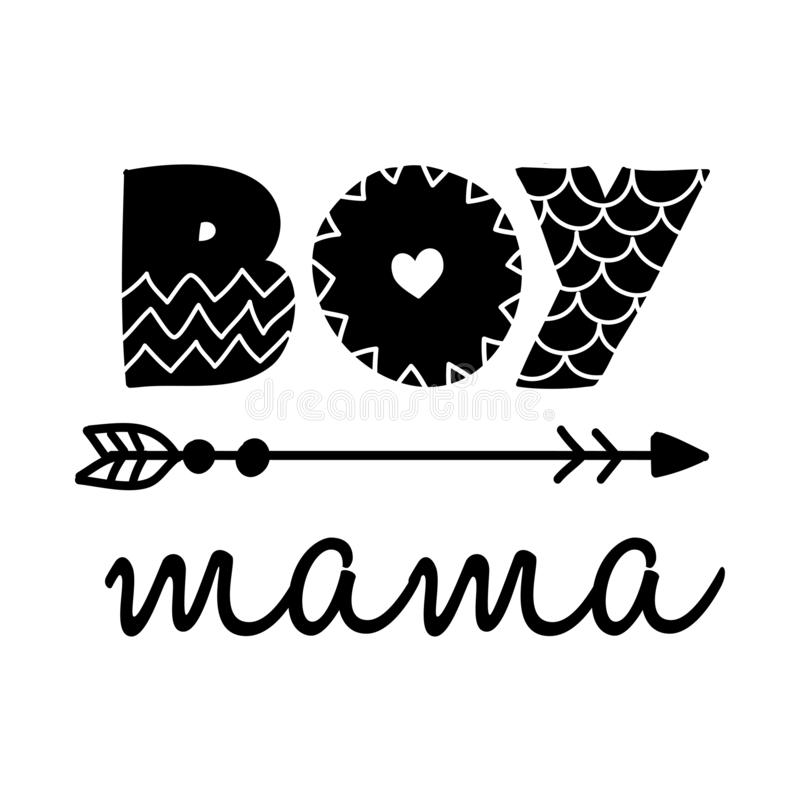 Free Boy Mama - Scandinavian Style Illustration Text For Clothes. Royalty Free Stock Image - 154273276