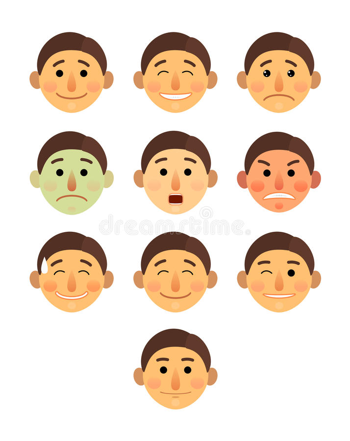 Boy or man different face emotions collection cartoon flat - Emoji emoticon icon vector illustration set. Face on a stock illustration