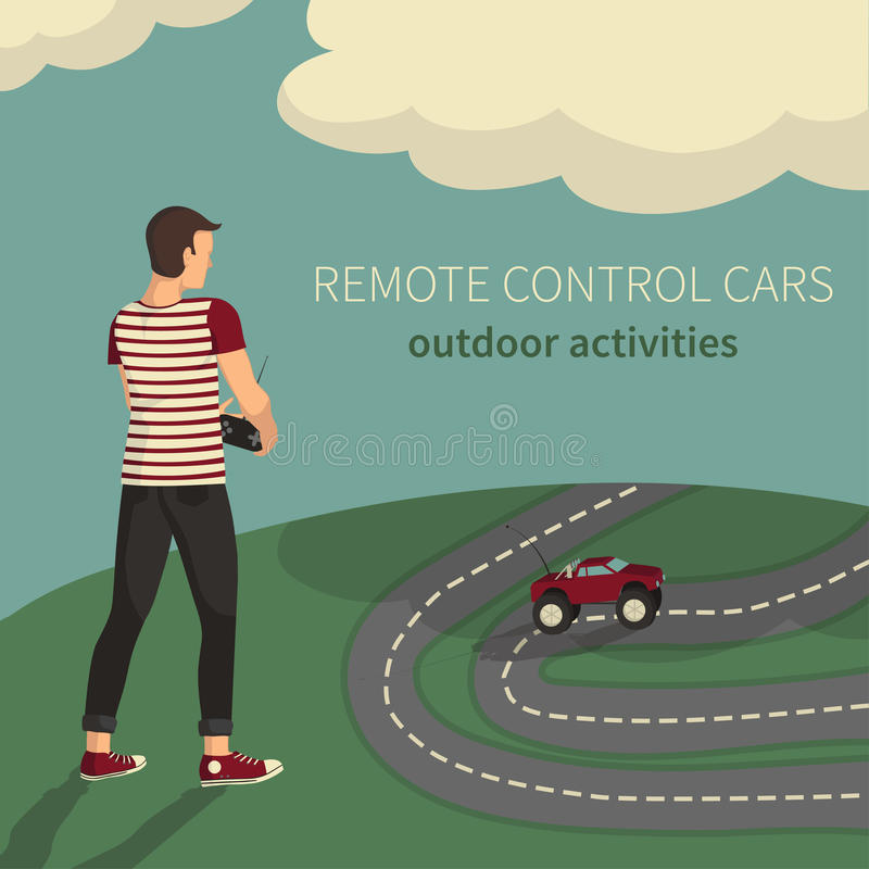 Boy, managing cars on the radio control. stock photos