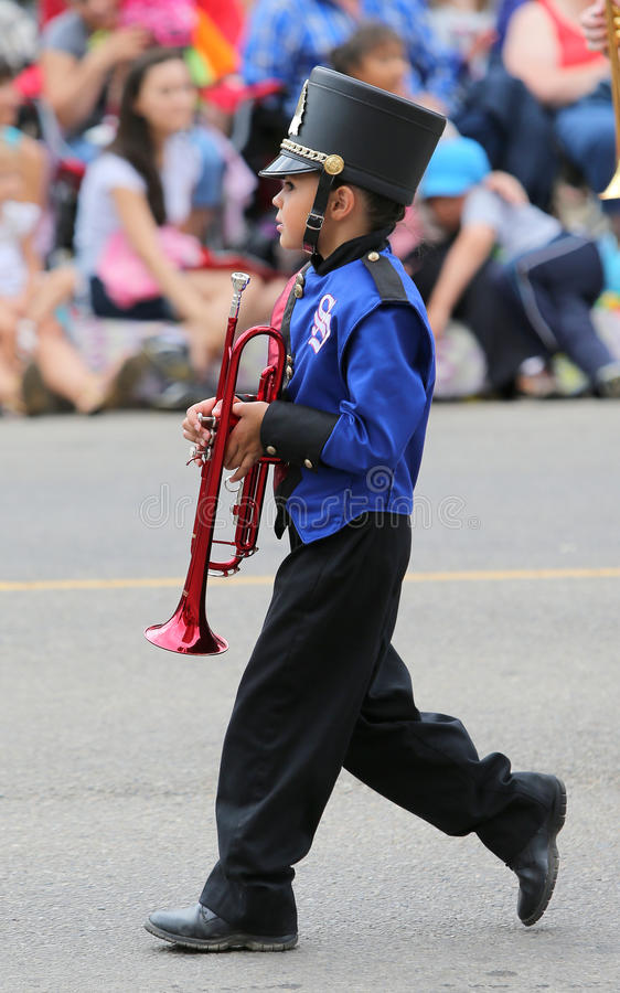 Boy in a Marching Band stock photography