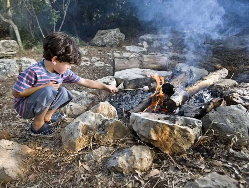 Download Boy marshmallow campfire stock image. Image of people - 15413505