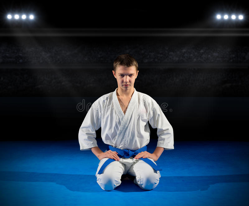 Boy martial arts fighter. In sports hall stock image