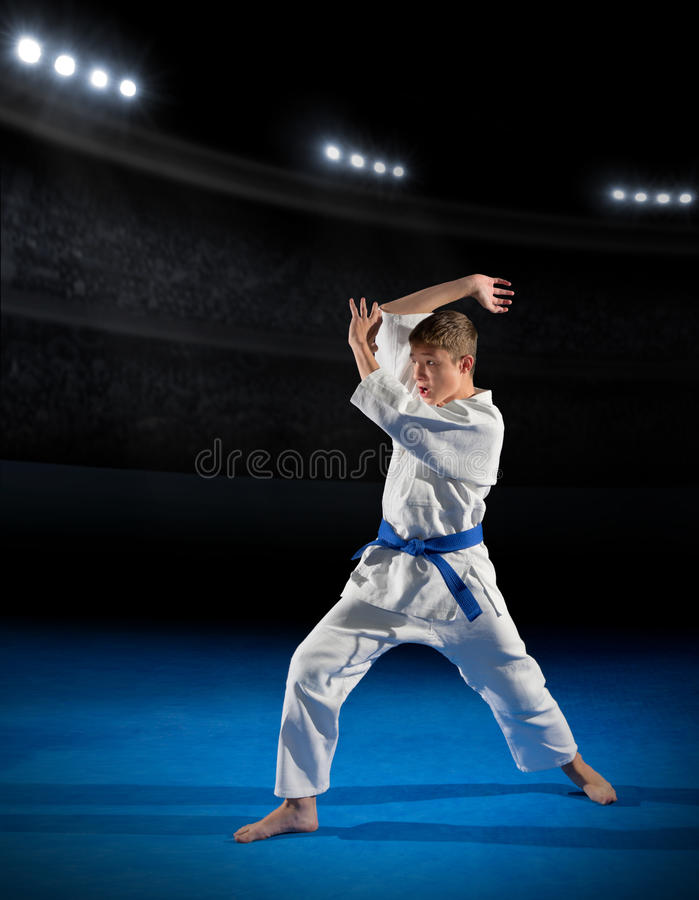 Boy martial arts fighter. In sports hall royalty free stock photography