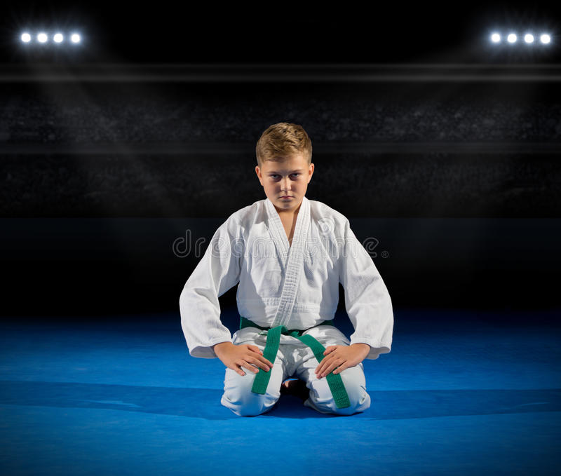 Boy martial arts fighter. At sports hall royalty free stock image