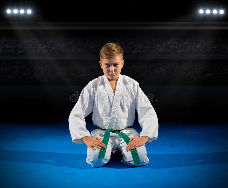 Boy martial arts fighter. In sports hall royalty free stock photos