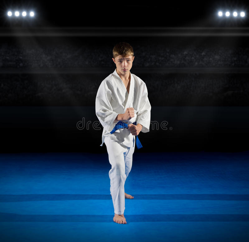 Boy martial arts fighter. In sports hall stock images