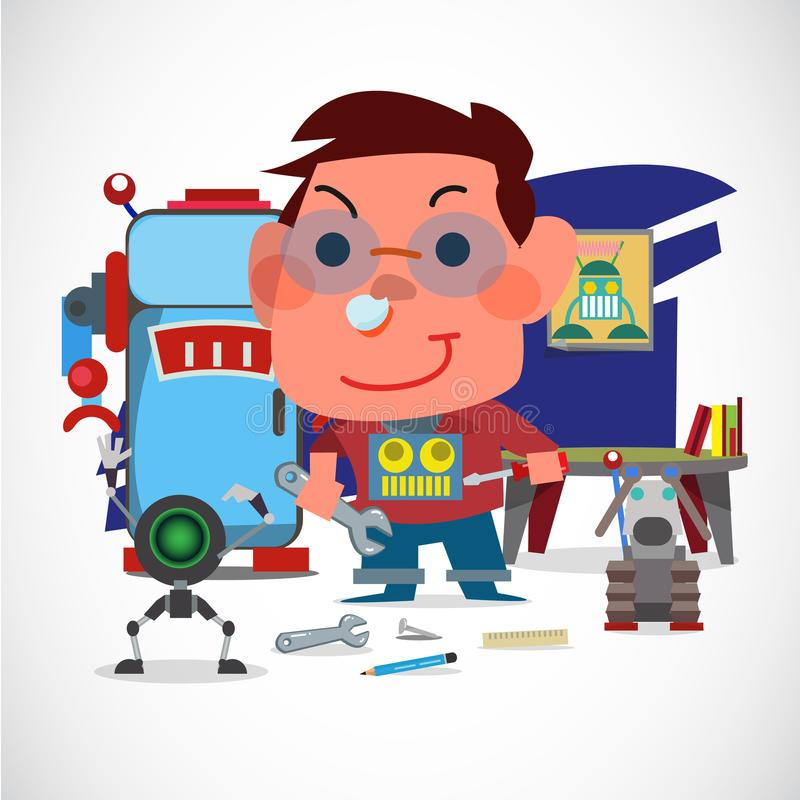 Boy mechanic with his robot. Robot lover concept. Kid`s dream - vector illustration