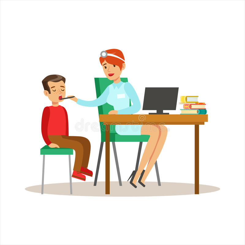 Boy On Medical Check-Up With Female Pediatrician Doctor Doing Physical Examination With Computer For The Pre-School. Health Inspection. Young Child On Medical vector illustration