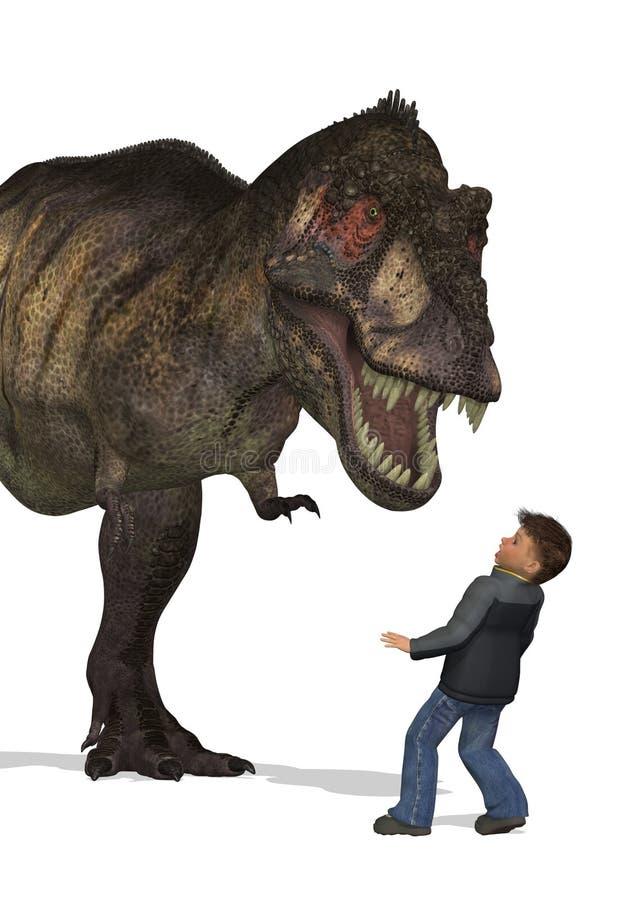 Boy Meets Dinosaur Stock Photo