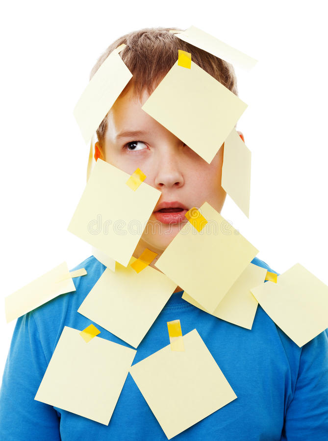 Boy With Memo Posts On His Face Stock Images