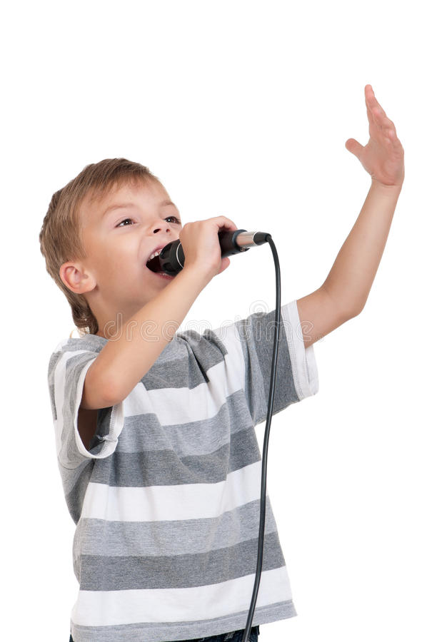 Boy with microphone royalty free stock image